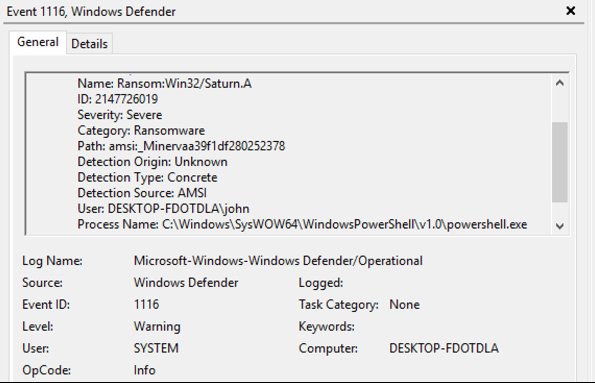 Figure 3: Windows Defender AV identified the malware family name of the Minerva-blocked threat