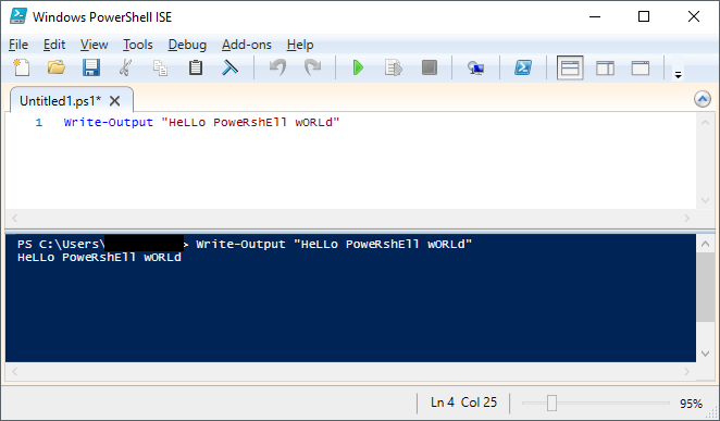 "PowerShell ISE Console, running a basic ""hello world"" script"