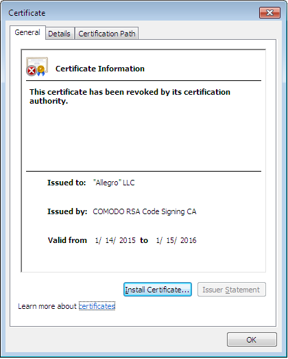 The (now revoked) certificate of one of the binaries in the leak, same as the one used by Buhtrap